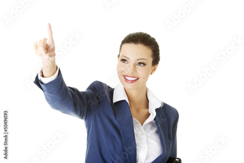 Businesswoman making choose on abstract screen