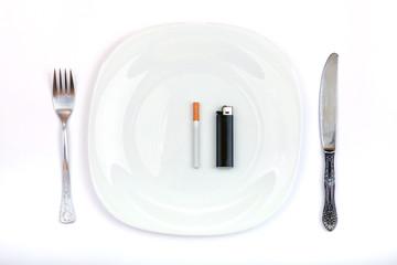 Cigarette and Lighter Instead a Dinner