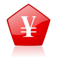 yen red web glossy icon