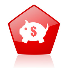 piggy bank red web glossy icon