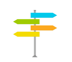 Señal para indicar las direcciones en varios colores