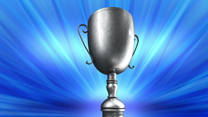Silver Award Trophy or cup spinning around