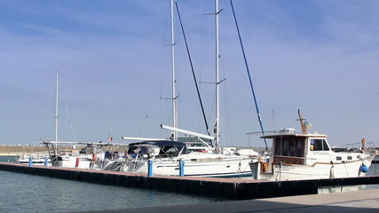 Scenic view of yachts moored in marina
