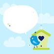 Blue Bird Flower Speech Bubble Sky