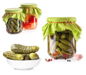 Collection of Pickles isolated on white background