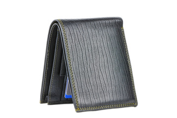 Black leather wallet isolated over white