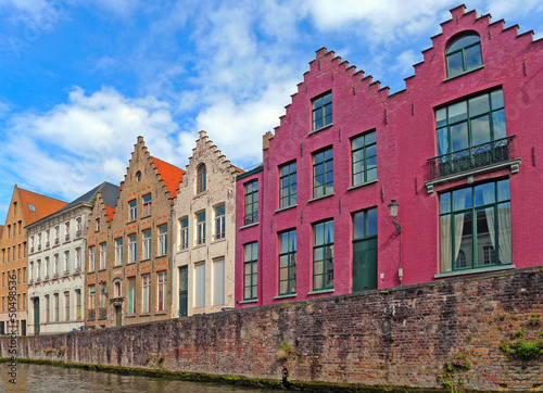 Traditional flemish houses near the canal in Bruge, Belgium