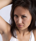 woman showing armpit