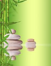 Spa encore la vie avec des pierres de lave et les pousses de bambou