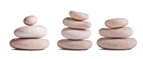 Collection of white pebbles isolated on white background