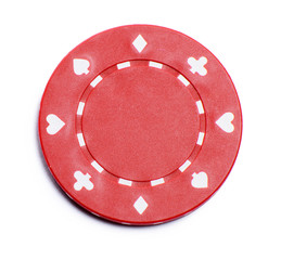 One casino chips isolated on white