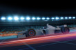 Formula 1 concept car on track at night 3D