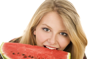 Long-haired beautiful blonde with watermelon .
