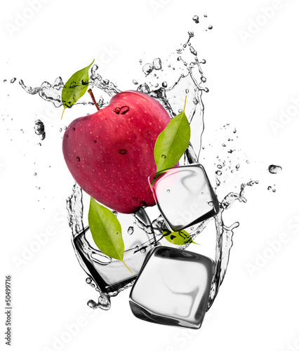 Red apple with ice cubes, isolated on white background