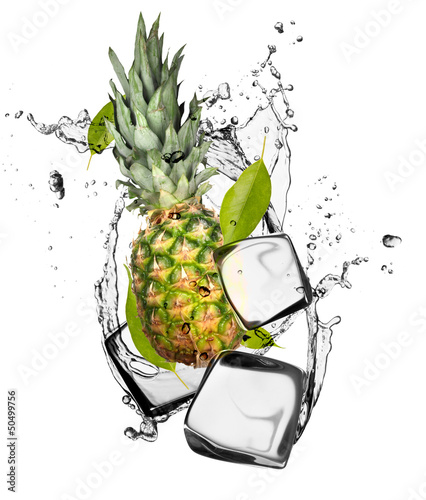 Poster In het ijs Pine-apple with ice cubes, isolated on white background
