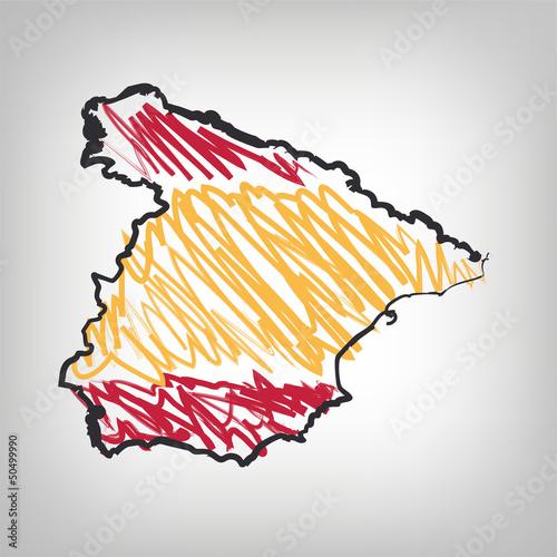 Spanien Karte Zeichnung
