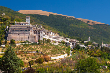 Basilica San Francesco in Assisi, Umbria, Italy During a Summer
