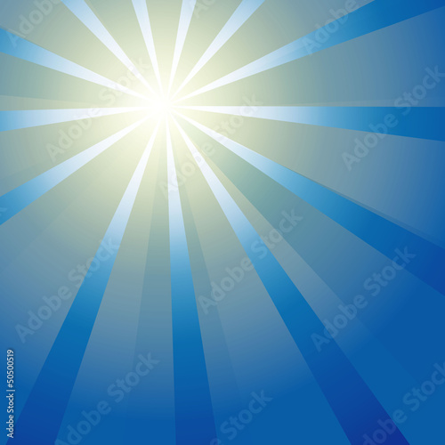Sun on a blue sky. Vector illustration