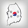Südkorea Karte Zeichnung