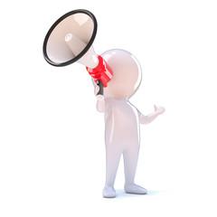 Little man shouts through megaphone