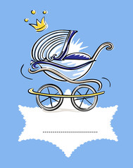 Namensschild mit Kinderwagen auf Deckchen/ Junge