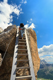 Dolomiti - hiker on wooden staircase