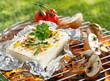 Leinwanddruck Bild - Halloumi or feta cheese on a barbecue