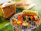 Corn cob and vegetarian barbecue