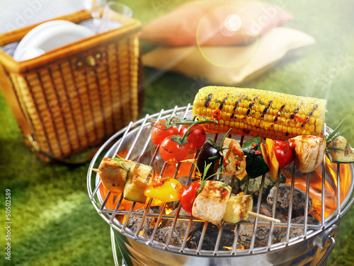 Plexiglas Restaurant Corn cob and vegetarian barbecue