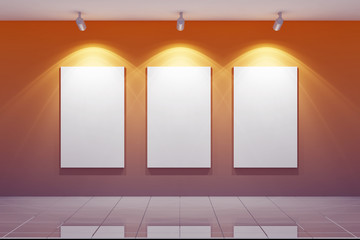 3D Empty gallery wall