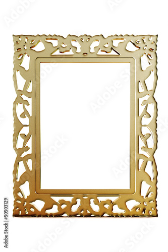 3D Gold Frame isolated on white