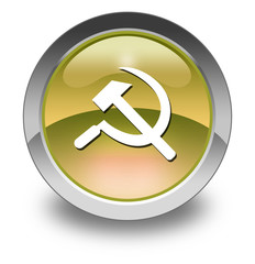 "Yellow Glossy Pictogram ""Communism / Hammer & Sickle"""