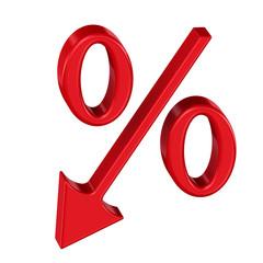 Символ процента. Направление вниз