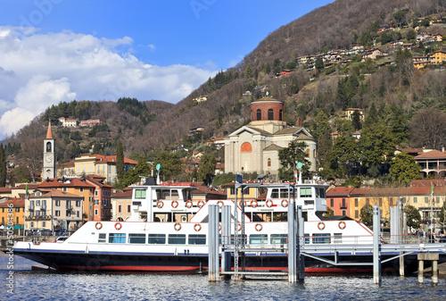 Ferry-boat approaching Laveno Mombello, Lake Maggiore