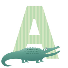 Letter A for Aligator illustration