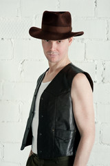 Man in brown hat
