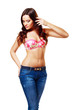 brunette woman in jeans and bra