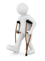 man on crutches on white background. Isolated 3D image