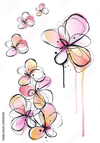 Tuinposter Abstract bloemen abstract ink and watercolor flowers, vector background