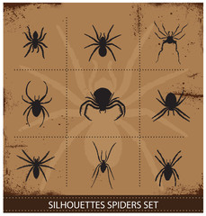 spiders silhouettes vector collection