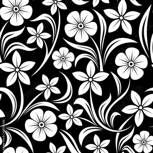 Foto op Canvas Bloemen zwart wit Seamless pattern with flowers. Vector illustration.