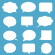 White speech bubbles on blue background