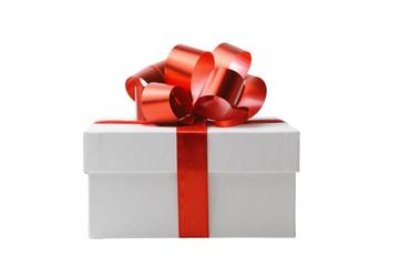 Gift white box isolated on white background