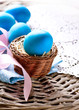 Easter. Painted Eggs. Easter Egg in the Basket