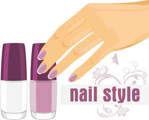 Female hand with manicure and nail polish. Banner for design