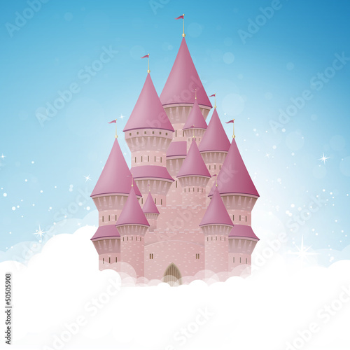 Fototapeta Vector Illustration of a Cartoon Castle