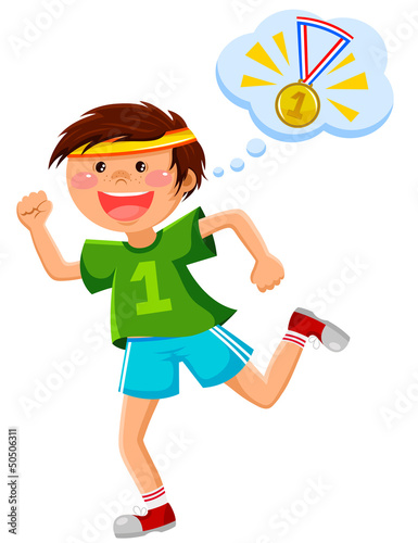 boy running and thinking of a golden medal