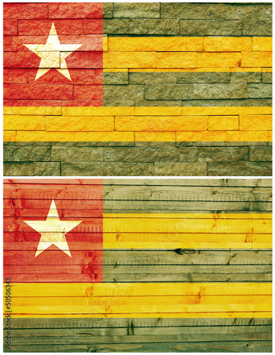 Vintage wall flag of Togo collage