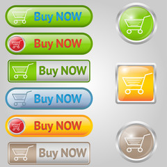 Shiny, stylish Buy buttons with cart