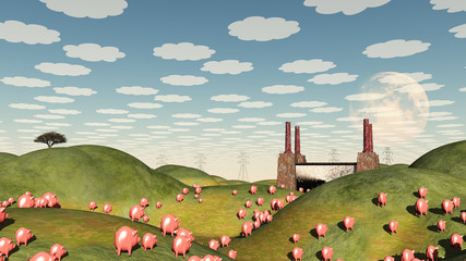 Pigs move like lemmings toward factory